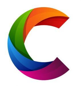 colorful striated letter C