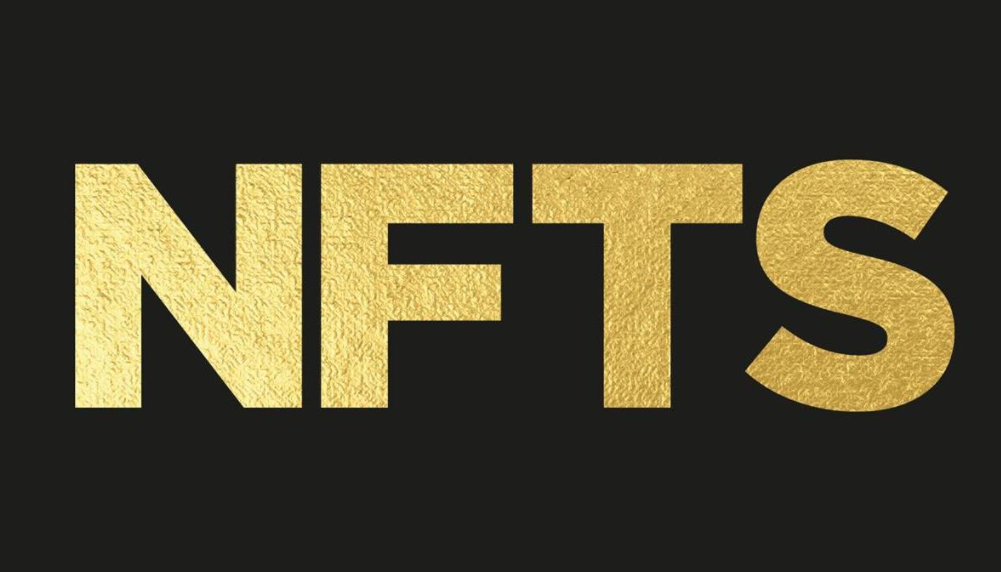 Letters NFTS in gold on black background