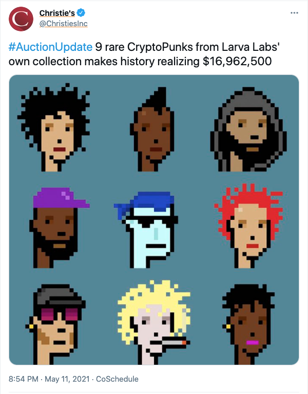 tweet with 9 cryptopunks and christie's auction news