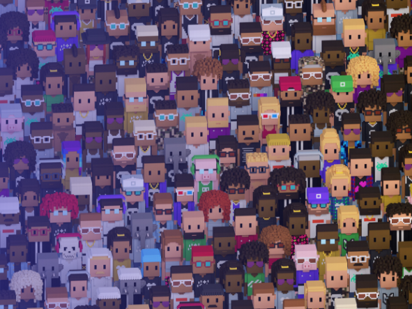gridlike configuration of Meebits character heads