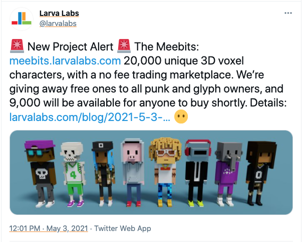 tweet announcing the launch of meebits with 8 toy figures