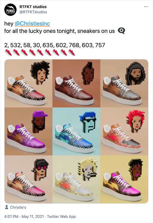 tweet with images of 9 different sneakers based on cryptopunks colorways