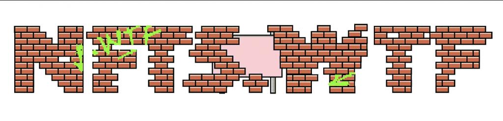 letters NFTS.WTF in pixel-like bricks